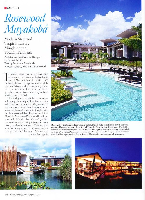 Rosewood Mayakoba, Architectural Digest